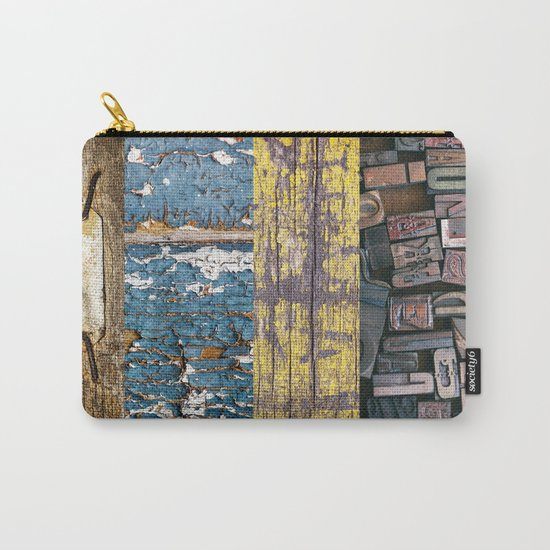 patchwork 5 wood Carry-All Pouch