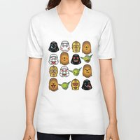 starwars V-neck T-shirts featuring StarWars Emojis by Xray T