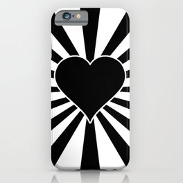 Black and White Love Heart Valentines Bursting Heart iPhone Case