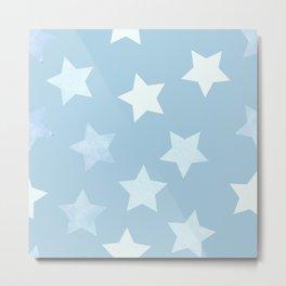 sweet pastel sky denim blue colors stars pattern Metal Print