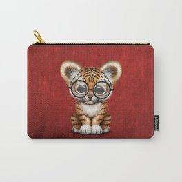 Cute Baby Tiger Cub Wearing Eye Glasses on Deep Red Carry-All Pouch