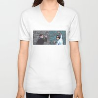 pacific rim V-neck T-shirts featuring PACIFIC RIM - Blackboard Buds by Kristal Babich