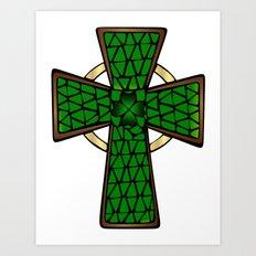 Shamrock Celtic Cross Art Print