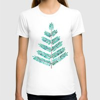 turquoise T-shirts featuring Turquoise Leaflets by Cat Coquillette