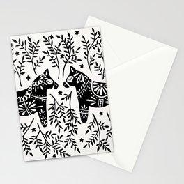 Swedish Dala Horses – Black Palette Stationery Cards