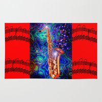 saxophone Area & Throw Rugs featuring Saxophone by JT Digital Art