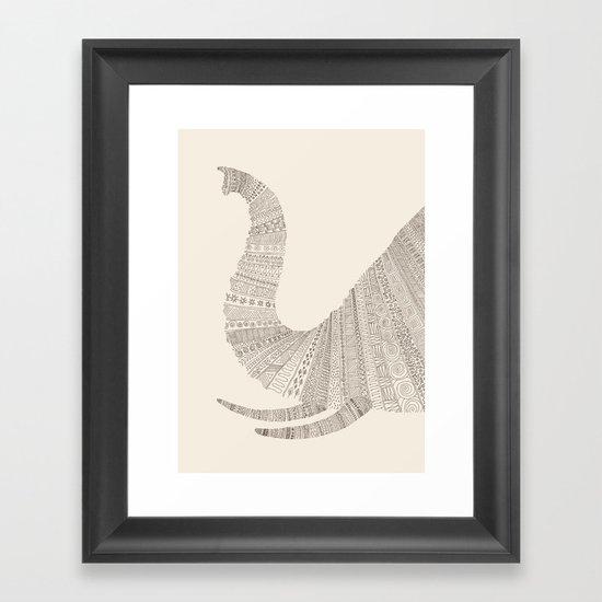 Elephant (On Beige) Framed Art Print