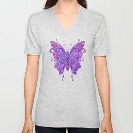 Butterfly In Purple Unisex V-Neck