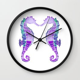 Seahorses    Together Forever in Cyan Blue & Purple Watercolor Wall Clock