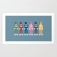 power rangers Art Prints featuring Power Rangers 8-Bit by Eight Bit Design
