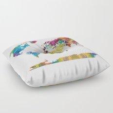 Geometric World Map Floor Pillow