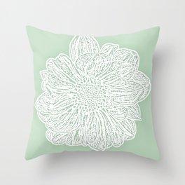 Single White Dahlia Lino Cut, Soft Sage Green Throw Pillow