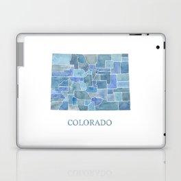 Colorado Counties BluePrint Watercolor Map Laptop & iPad Skin