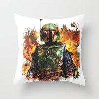 boba Throw Pillows featuring Boba Fett by ururuty