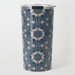 Blue Digital Flower Pattern Travel Mug