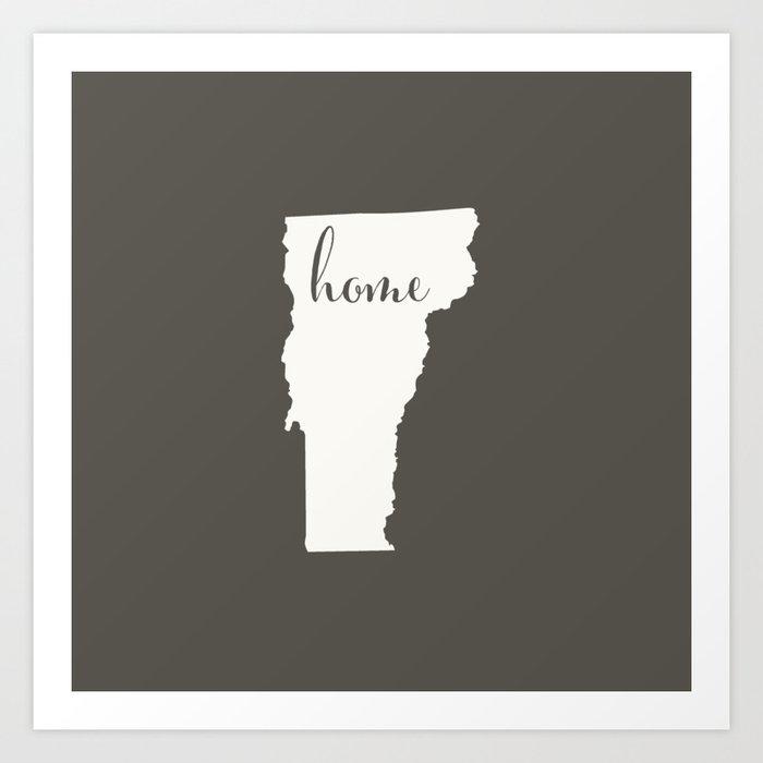 Vermont is Home - White on Charcoal Kunstdrucke