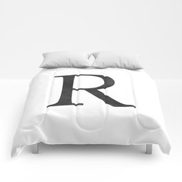 Letter R Initial Monogram Black and White Comforters