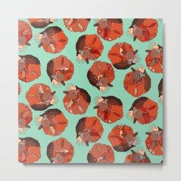 curled fox polka mint Metal Print