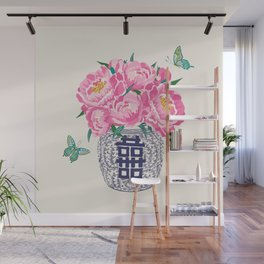 peony bouquet in ginger jar/cream Wall Mural