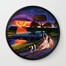 Sunset over the Blue Bridge landscape painting by Hermann Max Pechstein Wall Clock