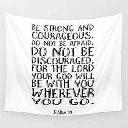 Bible Verse 1 Joshua 1:9 Christian Quote Typography Wall Art Printable Art Bible Verse Printable Wall Tapestry