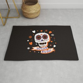 Sugar Rush Halloween Skull - Black Orange White Brown Rug
