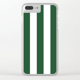Cal Poly Pomona green - solid color - white vertical lines pattern Clear iPhone Case
