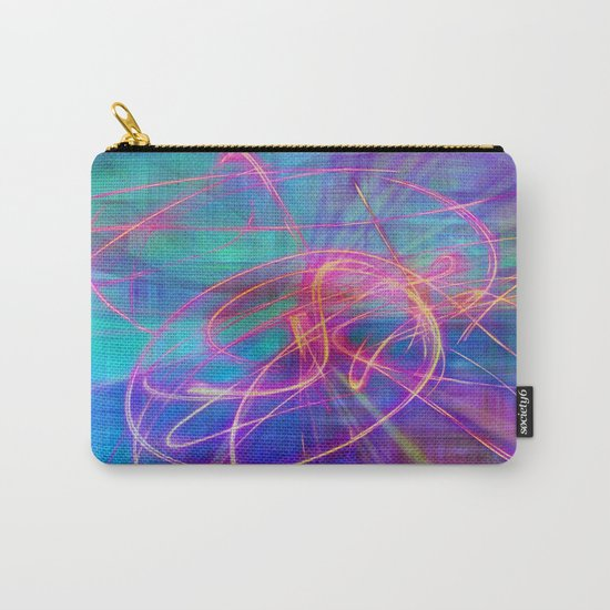 Electric Neon Swirls of Light Abstract Carry-All Pouch