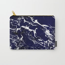 Modern Navy blue watercolor marble pattern Carry-All Pouch
