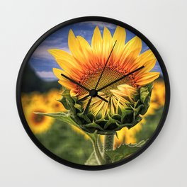 Blooming Sunflower with Sky - Textured Wall Clock