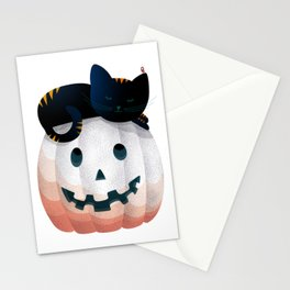065 - tired kitty on the Halloween pumkpin Stationery Cards