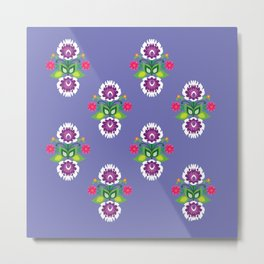 Folk - small composition on purple background Metal Print