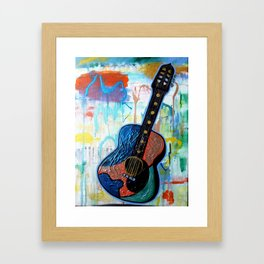 Metallic Guitar Framed Art Print