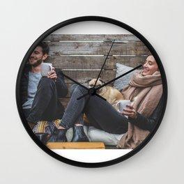 Man, Woman and Pug Wall Clock