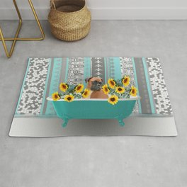 Turquoise Bathtub with Boxer dog and sunflowers Rug