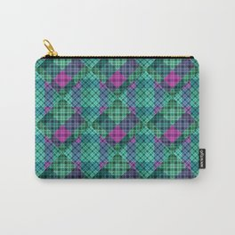 Turquoise green plaid Carry-All Pouch