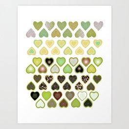 Green hearts wallpaper Art Print