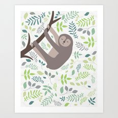 Happy Sloth with Leaves Illsutration Art Print