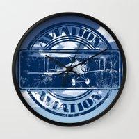 aviation Wall Clocks featuring Retro Aviation Art by MacDonald Creative Studios