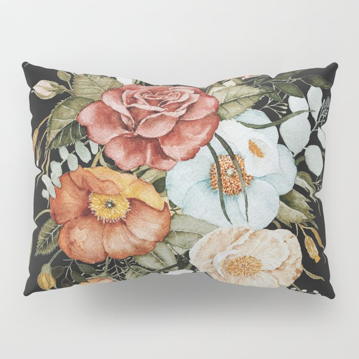 Roses and Poppies Bouquet on Charcoal Black Pillow Sham