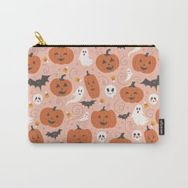 Pumpkin Party on Blush Pink Carry-All Pouch
