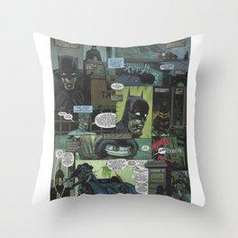 Bruce Wayne Comic Collage Throw Pillow