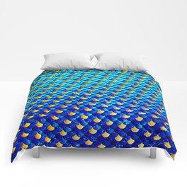 Ocean Blue Mermaid Scales -Beautiful Abstract Glitter Pattern Comforters