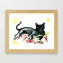 Coffee, Orchid and Black Cat Vintage Style Large Format XXL Framed Art Print