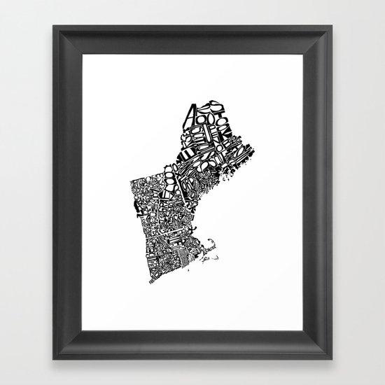 Typographic New England Framed Art Print