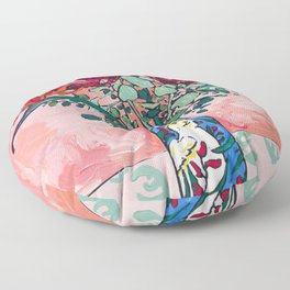 Cockatoo Vase on Painterly Pink Floor Pillow