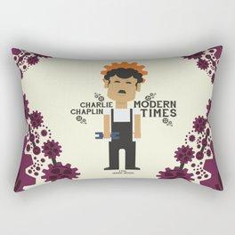 Charlie Chaplin, Modern Times, minimal movie poster Rectangular Pillow