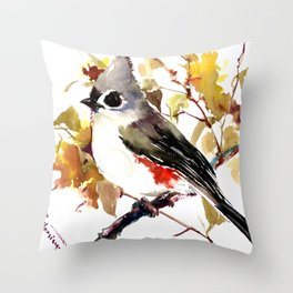 Titmouse and Fall colors foliage bird art design bird lover gift vintage style Throw Pillow