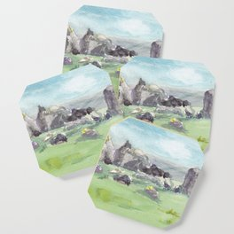 Loughcrew cairns stone circle watercolor painting of Ireland Coaster