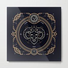 Aries Zodiac Gold White Black Background Metal Print